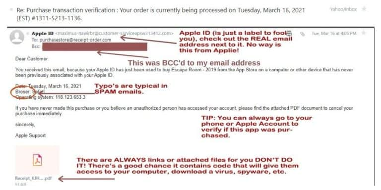Email SCAM- From Fake APPLE ID